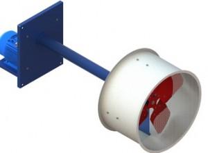 Осевой вентилятор с выносным двигателем